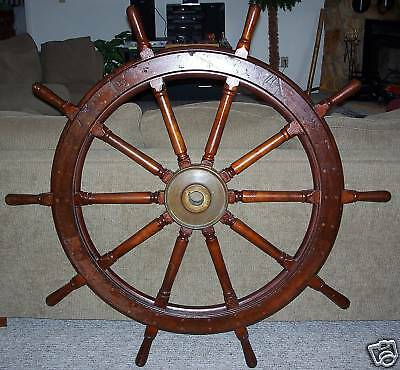 U.S. NAVY Antique Wood Ship Wheel 54""