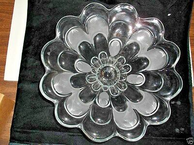 "Vintage Large Glass Fruit Bowl~Partly Frosted~X-Cond. 12-1/4"" Wide"