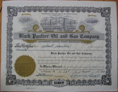 1948 Stock Certificate-Black Panther Oil-Carbondale, IL