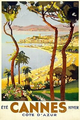 Cannes Vintage Style 1930s French Travel Poster - 24x38