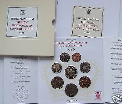 1986 Royal Mint  B UNC blister pack year set.