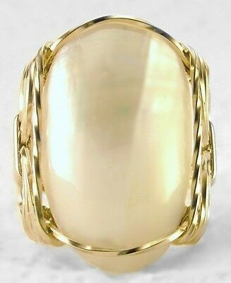 Large Oval Mabe Pearl Ring 14k Rolled Gold