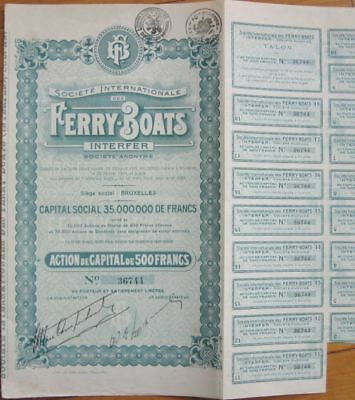 1929 Belgian Stock/Bond Certificate-Ferry-Boat Interfer