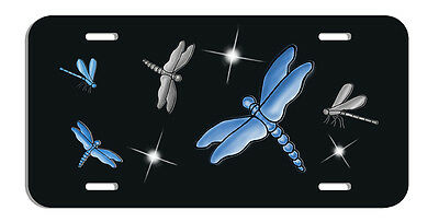 Dragonfly Dragonflies Auto License Plate Gifts Ladies Girls Blues Silver-Gray