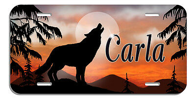 Wolf Wolves And Moon Auto License Plate Tags Beautiful