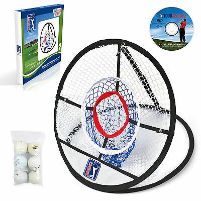PGA TOUR Perfect Touch Chipping Golf Net +6 GOLF BALLS+Training DVD Worth £19.99
