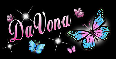 Butterflies Auto License Plate Personalize Gift Ladies Any Names Or Text Black
