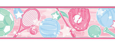 SPORTS STAR Pink Tennis Racket Soccer Baseball Gloves Girl Wall paper Border