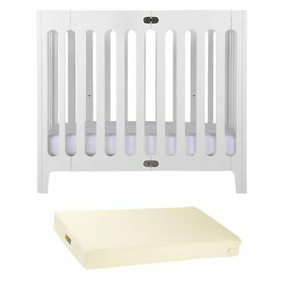 BloomBaby White Alma Urban Folding Crib + Mattress!
