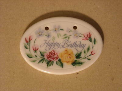 LONGABERGER HAPPY BIRTHDAY Tie-On (Floral Wine Pottery)