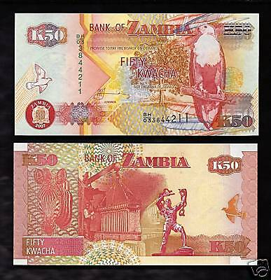World Paper Money - Zambia 50 Kwacha @ Crisp UNC