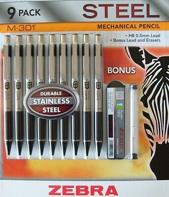 New 9pk Zebra M-301® Stainless Steel Mechanical Pencil