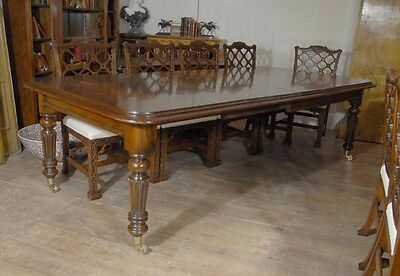 9 ft English Victorian Mahogany Dining Table Diners