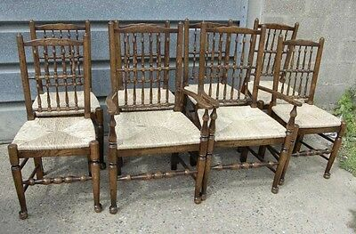 8 Oak Spindleback Chairs Farmhouse Spindle English Set