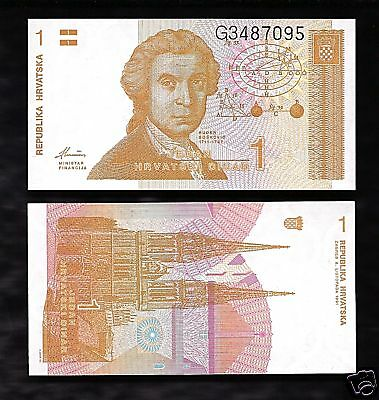 World Paper Money - Croatia 1 Dinar 1991 @ Crisp UNC