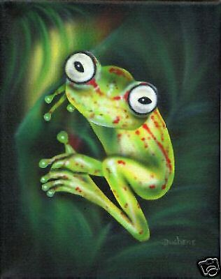 """FROG AIRBRUSHED PAINTING 11""""x14"""""""