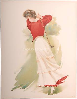 Golf Woman Swinging Club 1908 Victorian 10x13 Color Litho Print-Chromolithograph