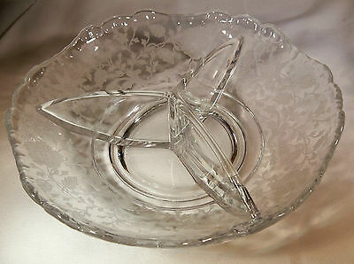 """Cambridge Wildflower Crystal 3500/69 Gadroon Round 6-1/2"""" Divided Relish Bowl!"""