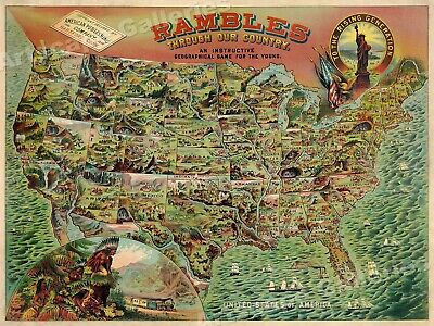 Rambles Through Our Country 1890 Geography Game Map - 18x24