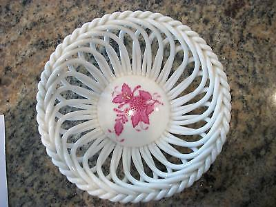 Vintage Herend Open Weave Basket Dish Candy