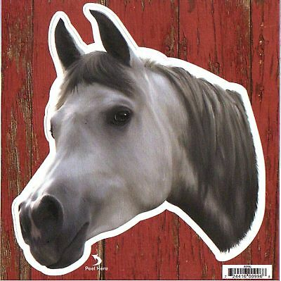 "Gray Arabian Horse Decal Bumper Sticker Gifts Ladies Men Adhesive Back 6"" Horses"