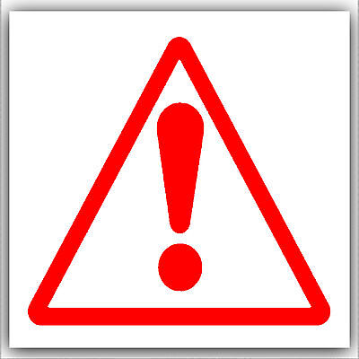 6 x Warning,Caution,Danger,Exclamation Mark Symbol Stickers-Health,Safety Signs