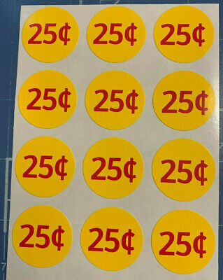 "12 .25 NEW 1""  Bulk Vending Price labels red / yellow"