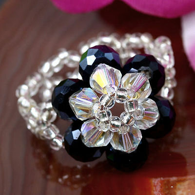1X BLACK CRYSTAL GLASS FLOWER FACETED BEADS RING SIZE 7