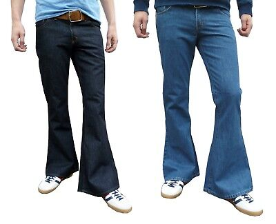 Mens Denim Bell Bottoms Flares Jeans Flared Beatles Hippie vtg 60s 70s Indie NEW