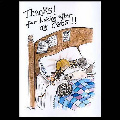 Large Thanks For Looking After Cat Card Suzanne Le Good