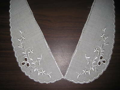 Embroidery Cotton Ivory Floral Scalloped Lace Baby Collar #1326