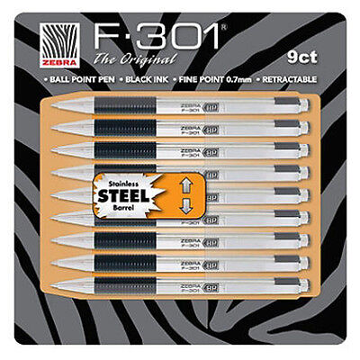 New 9pk Zebra F-301® Stainless Steel Ball Point Pen