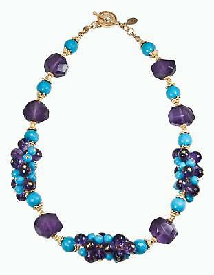 Outstanding Faceted Turquoise Amethyst Grape Necklace!