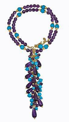 OUTSTANDING FACETED TURQUOISE AMETHYST Long NECKLACE!!!