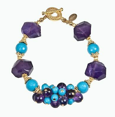 Outstanding Faceted Turquoise Amethyst Vermeil Bracelet