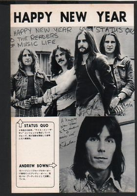 1973 Status Quo / Andrew Brown JAPAN mag photo pinup / clipping cutting