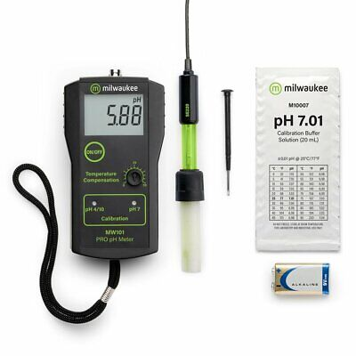 Milwaukee MW100 pH Meter, Digital, w/ SE220 probe + solutions, Tester, NEW