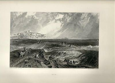 Stampa antica VEDUTA DI RYE Marina Sussex Turner 1880 Old Print United Kingdom