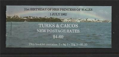 Turks & Caicos 1982 21st B/Day Prncss Of Wales SB 6 MNH