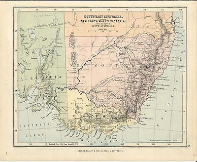 Carta geografica antica SOUTH-EAST AUSTRALIA 1878 Old antique Map