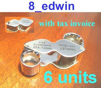 6 Units of 10x AND 20x Jeweler's Loupe Dual lenses