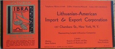 1940 Lithuania Export AD Blotter with Horoscope - LIBRA