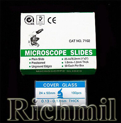 "50 Cut Edge Microscope Slides 1x3"" 100 Coverslips 50mm"
