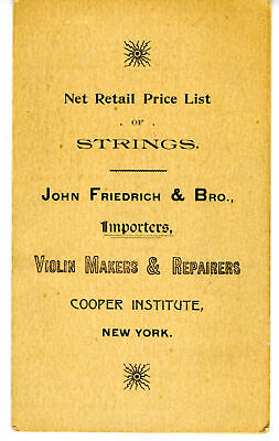 1890s Price List of Violin Strings J Friedrich New York