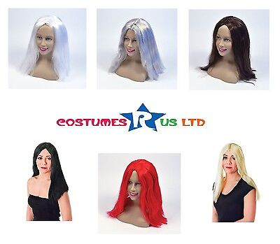 "Adult 18"" Long Unisex #wigs In All Colours Fancy Dress Party Costume Accessory"