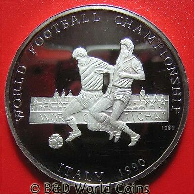 1989 AFGHANISTAN 500 AFGANIS SILVER PROOF 1990 ITALY WORLD SOCCER FOOTBALL 38mm