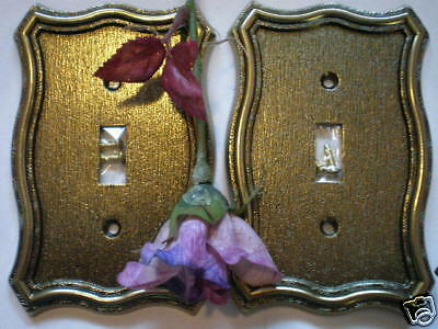 2 Gold Cast  Victorian Brass Heavy Metal Vintage Switch Covers NEW