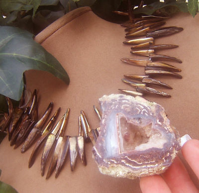 Bronze Mo Pearl Necklace Geode Druzy Crystal Lavender Purple Chalcedony Pendant