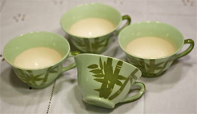 1940s-WEIL WARE CAL. POTTERY-BAMBOO-COFFEE CUPS(4)+TRAY--LOT-5--XLNT