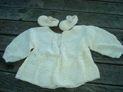 Vintage Infant Childs Outfit Set Knit? Handmade Jacket Matching Booties  Exc